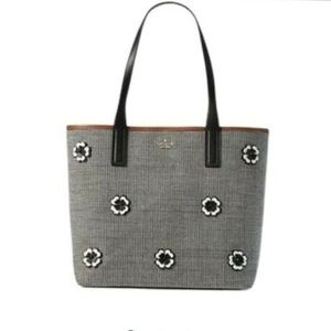New Kate Spade Tote Bag Black White Ash St Flower